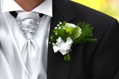 Wedding Boutonniere. On Suit Jacket of Groom Stock Photo