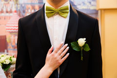 Wedding boutonniere and hand with rings Royalty Free Stock Photos