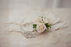 Wedding boutonniere and jewelry Royalty Free Stock Photo