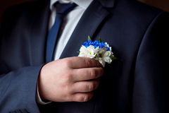 Wedding boutonniere. On a man's suit Stock Photos