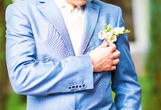 Wedding boutonniere on suit of groom Stock Image