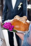 Wedding bread and flowers Stock Photography