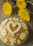 Wedding bread. Traditional wedding bread with sunflowers Stock Images