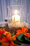 Wedding Bridal тема пляжа таблицы с канделябрами Стоковые Фото