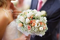 Wedding bridal bouquet. With roses and tulips Stock Photos