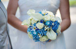 Wedding bridal bouquet in blue style Stock Photography