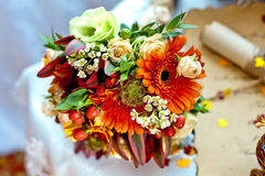 Wedding bridal bouquet. Wedding gentle bridal bouquet of roses and gerbera stock photography