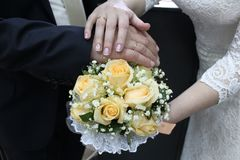 Wedding bridal bouquet. Love each other, take care. royalty free stock photo