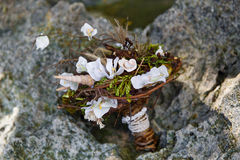 Wedding bridal bouquet made of shells and pearls and other Stock Photos
