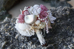 Wedding bridal bouquet made of shells and pearls and other Stock Image