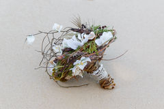 Wedding bridal bouquet made of shells and pearls and other Stock Photo