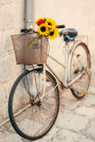 Wedding Bridal Bouquet Of Sunflowers In The Basket Of The Bicycl Royalty Free Stock Photo