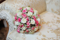 Wedding bridal bouquet pink on luxury sofa Royalty Free Stock Images