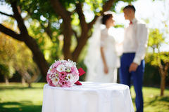 Wedding bridal bouquet with pink and white flowers on the table Royalty Free Stock Image