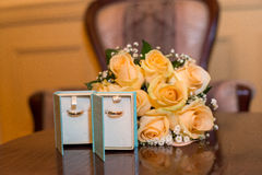 Wedding Bridal bouquet with rings. In hand Stock Photo