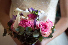 Wedding Bridal bouquet with rings Stock Photography