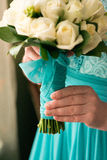 Wedding Bridal bouquet with rings. In hand Stock Photography