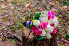 Wedding bridal bouquet of rose pink green white cotton flowers Royalty Free Stock Photos