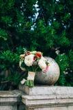 Wedding bridal bouquet of roses, chrysanthemums, Eucalyptus Baby Stock Photos