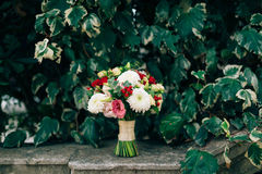 Wedding bridal bouquet of roses, chrysanthemums, Eucalyptus Baby Stock Photo