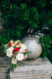 Wedding bridal bouquet of roses, chrysanthemums, Eucalyptus Baby Royalty Free Stock Photos