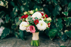 Wedding bridal bouquet of roses, chrysanthemums, Eucalyptus Baby Stock Photography