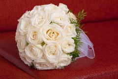 Wedding bridal bouquet of white roses Stock Photos