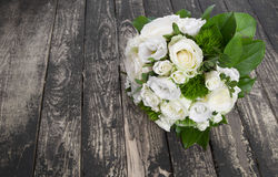 Wedding bridal  bouquet on wooden floor Royalty Free Stock Image