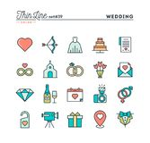 Wedding, bridal dress, event invitation, celebration party and m. Ore, thin line color icons set,  illustration Stock Image