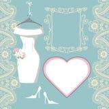 Wedding bridal dress with paisley border, label Stock Image