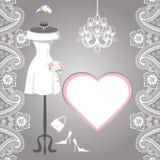 Wedding bridal dress with paisley border, label Royalty Free Stock Photos