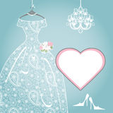 Wedding bridal dress.Paisley lace,chandelier,label Royalty Free Stock Photos
