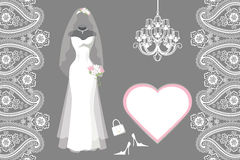 Wedding Bridal Dress With Frame,label,paisley Royalty Free Stock Photography