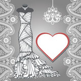 Wedding bridal long dress,paisley border, label. Composition of female's wedding long dress,Bridal chandelier,label,paisley border. Bridal shower.Fashion vector Royalty Free Stock Photos