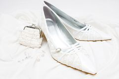 Wedding bridal shoes Royalty Free Stock Photography