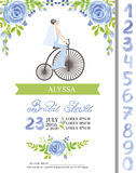 Wedding bridal shower  card.Watercolor blue flowers,numbers,brid Royalty Free Stock Image