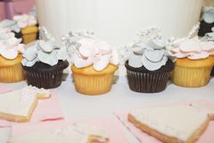 Wedding and Bridal Shower Cupcake and Cookies royalty free stock image