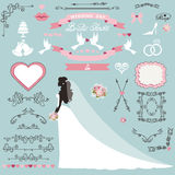 Wedding bridal shower decor set.Bride invitation. Wedding bridal shower invitation card decor set.Cartoon bride in long dress, Swirling borders,frames, ribbon Stock Images