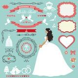 Wedding bridal shower decor set.Bride invitation card. Wedding bridal shower invitation card decor set.Cartoon bride in long dress, Swirling borders,frames Stock Photo