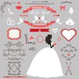 Wedding bridal shower decor set. Bride invitation card. Wedding bridal shower invitation card decor set.Cartoon  bride in whte long dress, Swirling borders Royalty Free Stock Photography