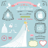 Wedding bridal shower decor set.Bride,swirls,icons,ribbons. Wedding bridal shower invitation card decor set.Cartoon bride in long dress, Swirling borders Royalty Free Stock Images