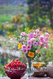 Wedding, Bridal shower flowers. An Outdoor Bridal Shower Background Filled with Love and Laughter Stock Photo