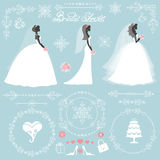 Wedding bridal shower winter decor set. Wedding.Bride in Different dress style.Winter  Bridal shower decor set.Cartoon woman ,Swirling borders,wreath frame Stock Photo