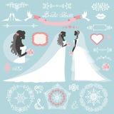 Wedding bridal shower winter decor set. Wedding.Bride in Different dress style.Winter  Bridal shower decor set.Cartoon woman ,Swirling borders,wreath frame Royalty Free Stock Image