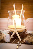 Wedding Bridal Table Beach Theme with Candelabra Stock Photo