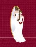 Wedding bride. Beautiful bride with bouquete, reflected in the mirror - is ready for wedding cerimony Stock Image