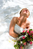 Wedding - bride with bouquet Royalty Free Stock Photos