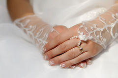 Wedding Bride detail. Wedding Bride hands detail with ring Royalty Free Stock Photo