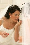 Wedding Bride doing makeup Royalty Free Stock Photos