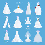 Wedding bride dress elegance style celebration vector illustration  on background Royalty Free Stock Images